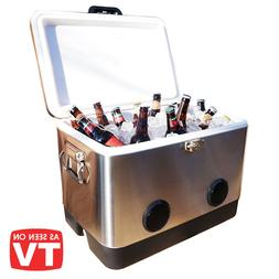 BREKX 54QT Stainless Steel Party Cooler with High-Powered Sp