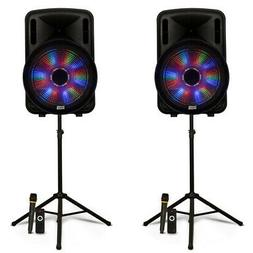 """Acoustic Audio Rechargeable 15"""" Bluetooth Party Speakers w/"""