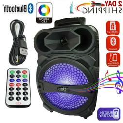 """8"""" Portable FM Bluetooth Party Speaker Subwoofer Heavy Bass"""