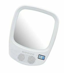 QFX R-70S Wireless Speaker with Fogless Light Up Mirror Whit